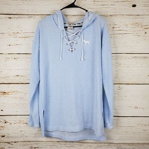 PINK Victoria's Secret Blue Terry Hooded Top